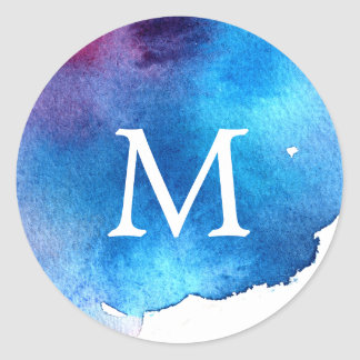 Blue Splash Watercolor Wedding Monogram Classic Round Sticker