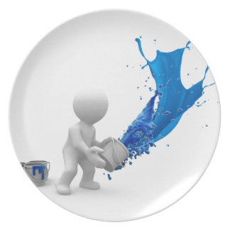 Blue Splattered Paint Party Plate