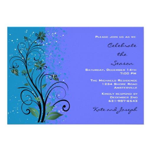 Blue Splendor Holiday Party Invitation