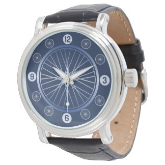 Blue sport bicycle wheel watch