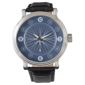 Blue sport bicycle wheel wrist watches