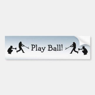 Blue Sports Baseball Play Ball Bumper Sticker