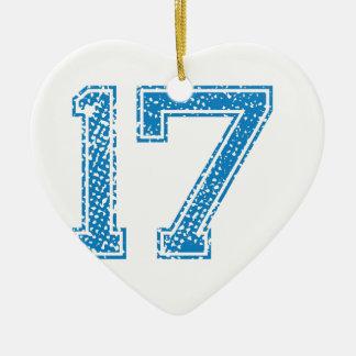 Blue Sports Jerzee Number 17 Ceramic Heart Decoration