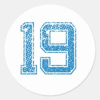 Blue Sports Jerzee Number 19 Classic Round Sticker
