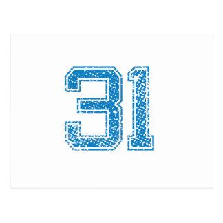 Blue Sports Jerzee Number 31 Postcard