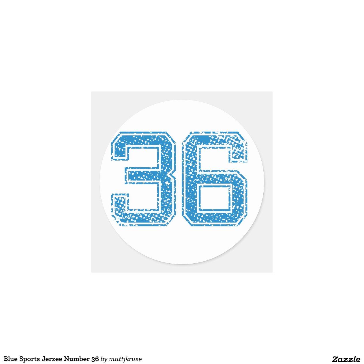 Blue Sports Jerzee Number 36 Classic Round Sticker