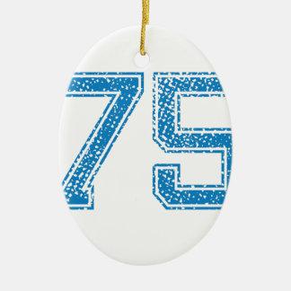 Blue Sports Jerzee Number 75 Ceramic Oval Decoration