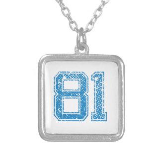 Blue Sports Jerzee Number 81.png Custom Necklace