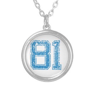Blue Sports Jerzee Number 81.png Necklaces