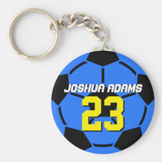 Blue Sports Team Soccer Ball Keychain