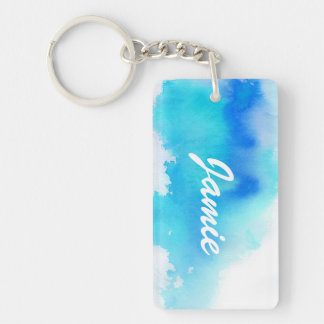 Blue spot, watercolor abstract hand painted Double-Sided rectangular acrylic key ring