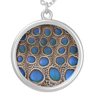 Blue spotted peacock pheasant silver plated necklace