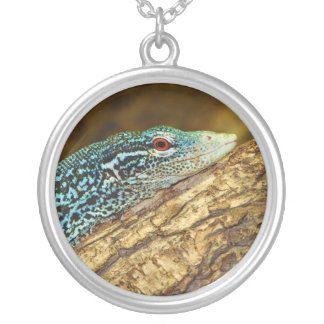 Blue-Spotted Tree Monitor Varanus Macraei Round Pendant Necklace