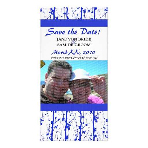 Blue Spring Blossoms Save The Date Picture Card