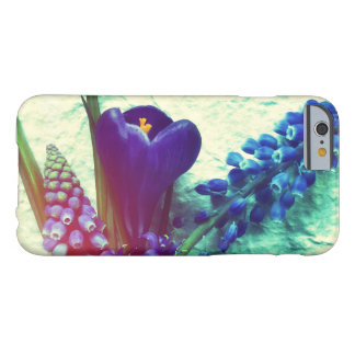 Blue spring flowers on textured background barely there iPhone 6 case