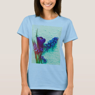 Blue spring flowers on textured background T-Shirt