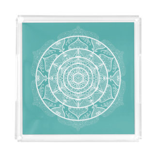 Blue Spruce Mandala Acrylic Tray