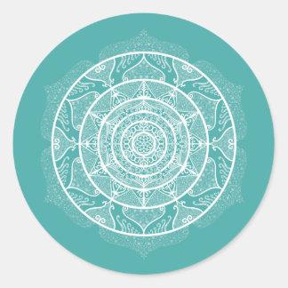 Blue Spruce Mandala Classic Round Sticker