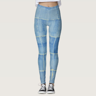 Blue square abstract leggings