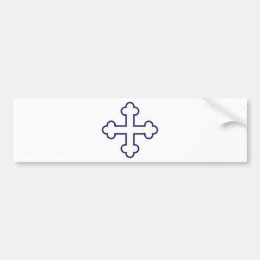 blue square apostles cross or budded cross bumper stickers