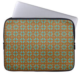 Blue Square Brown Pattern Laptop Sleeve