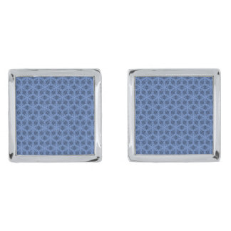 Blue Square Cufflinks, Silver Plated Silver Finish Cufflinks