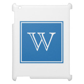 Blue Square Monogram iPad Cover