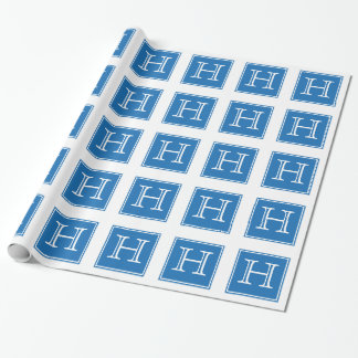 Blue Square Monogram Wrapping Paper