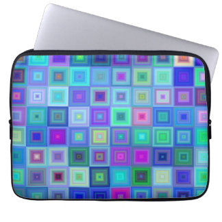 Blue square mosaic laptop sleeve