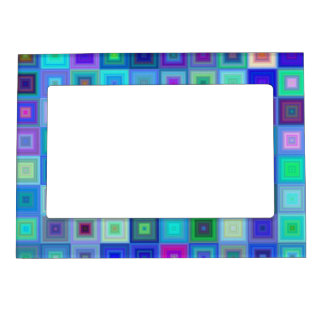 Blue square mosaic magnetic photo frame
