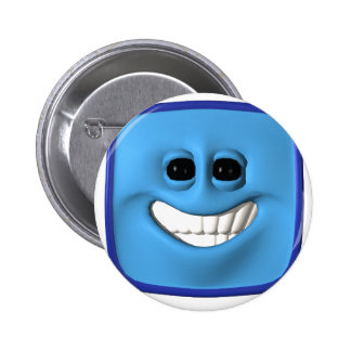 blue square smiley 6 cm round badge