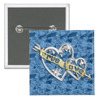 Blue Square True Love Joined Hearts Button