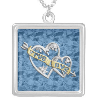 Blue Square True Love Joined Hearts Necklace
