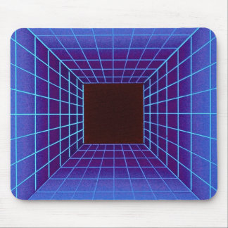 Blue square tunnel grid mouse pads