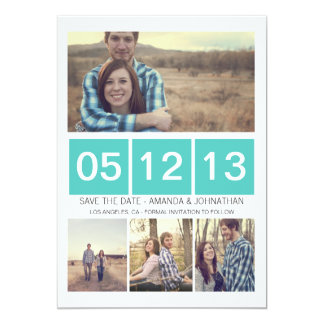 Blue Squared Photo  Save The Date Invites