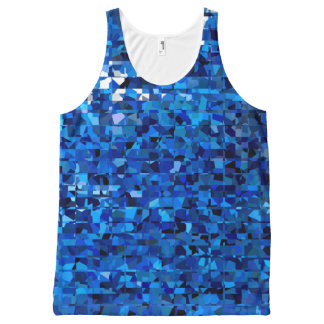 Blue Squares All-Over Print Singlet
