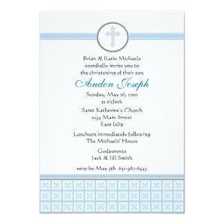 "Blue Squares Cross Invitation 5"" X 7"" Invitation Card"
