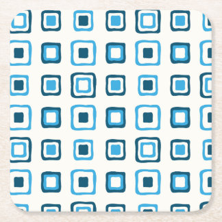 Blue Squares in Blue Squares - Reusable Square Paper Coaster