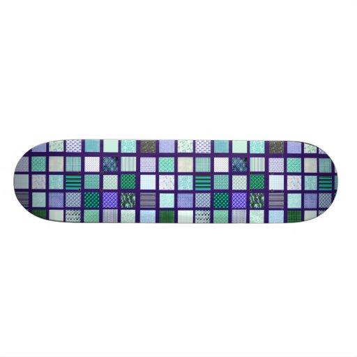 Blue squares mosaic pattern skate decks