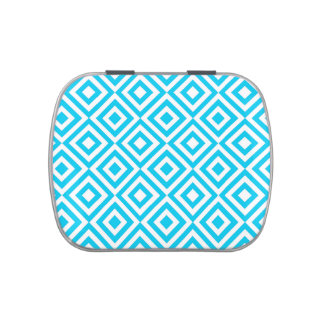 Blue squares pattern jelly belly candy tin
