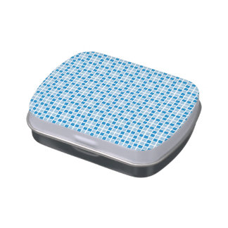 Blue Squares Pattern Jelly Belly Tin