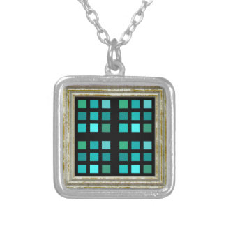 Blue Squares Pattern Silver Plated Necklace