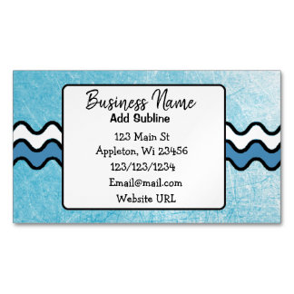 Blue Squiggles Business Information Magnetic Card