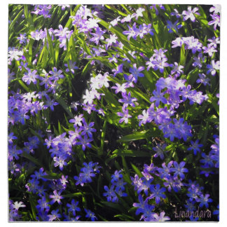 Blue Squill Spring Flowers Printed Napkins