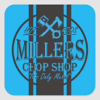 Blue SS Stripes Hot Rods Logo Square Sticker