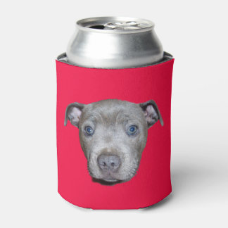 Blue Staffordshire Bull Terrier Face, Red Can Cooler