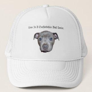Blue Staffordshire Bull Terrier Puppy Face Love, Trucker Hat