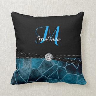 Blue Stain Glass Diamond Print   Personalize Throw Pillow
