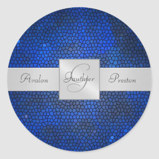Blue Stained Glass Monogram Wedding Sticker