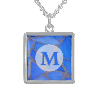 Blue Stained Glass Mosaic with Monogram Sterling Silver Necklace